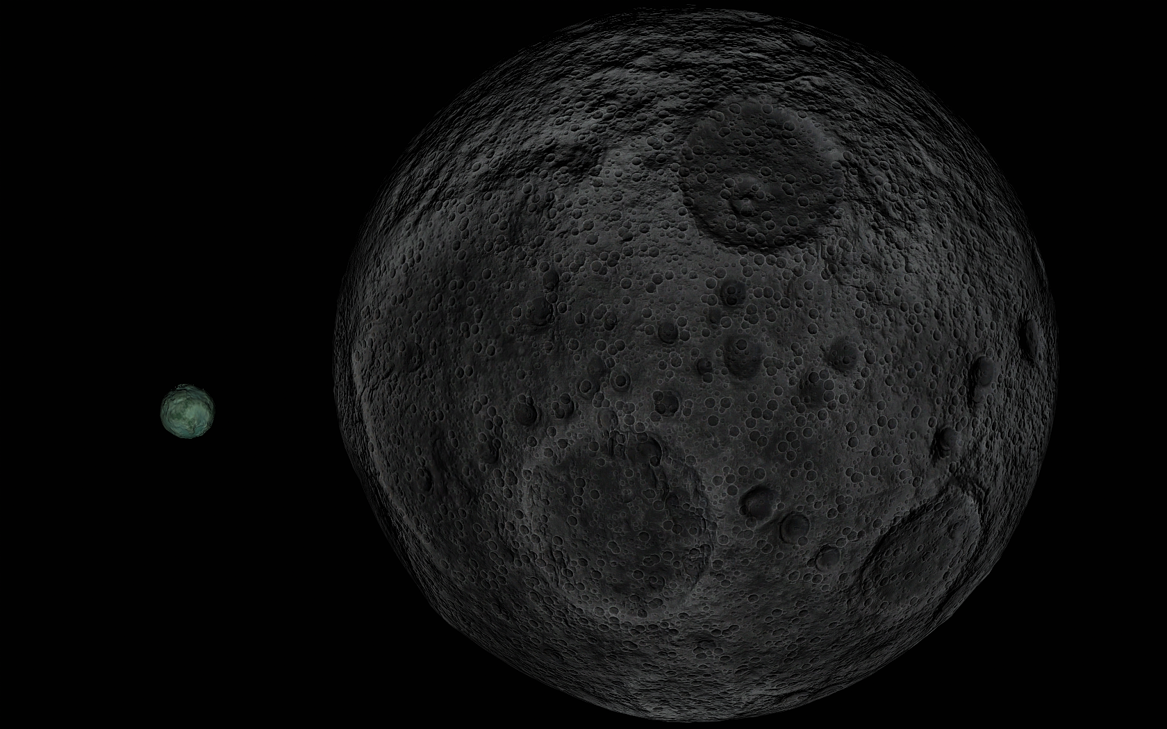 A full Minmus passing by at just 1.4° from a nearly full Mun