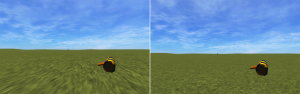 texture stretching on the left, fixed image on the right